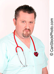 Stern looking male doctor