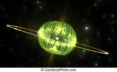 stern, magnetisch, mächtig, feld, magnetar, äußerst, oder,...