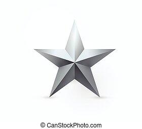 stern, metall, abbildung, vektor, design, fünf-spitz