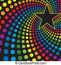 stern, mit, regenbogen, wirbel