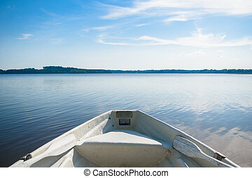 Stern of the boat on the lake.