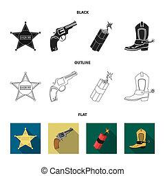 stern, sheriff, fohlen, dynamit, cowboy, boot., wilder westen, satz, sammlung, heiligenbilder, in, schwarz, stil, bitmap, symbol, haben abbildung lager, web.