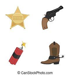 stern, sheriff, fohlen, dynamit, cowboy, boot., wilder westen, satz, sammlung, heiligenbilder, in, karikatur, stil, raster, symbol, haben abbildung lager, web.