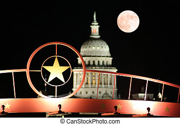stern, von, texas, mit, der, staatliches kapitol bauen, nacht