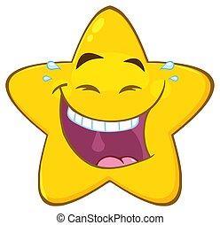 stern, zeichen, gelbes gesicht, lachender, emoji, ausdruck, karikatur, glücklich