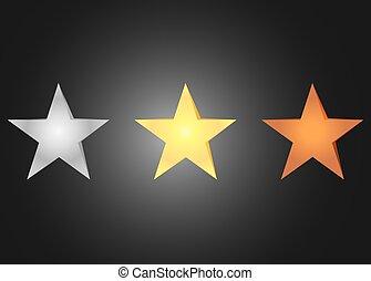 sternen, bronze, silber, und, golden., satz, von, hell, sternen