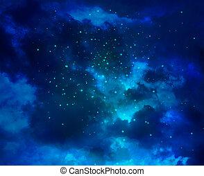 sternen, in, der, nacht himmel, und, galaxie