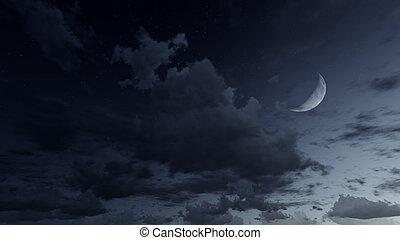 sternennacht, himmelsgewölbe, mit, a, halber mond