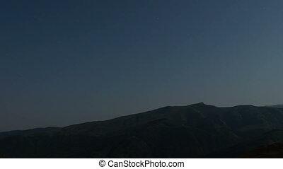 sternennacht, in, berge, zeit- versehen