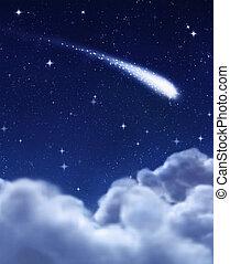 sternschnuppe, in, nacht himmel