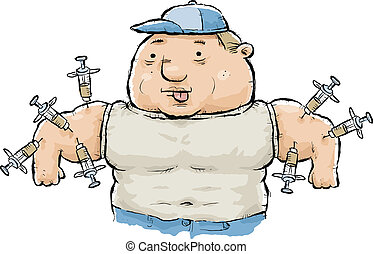 A muscular, cartoon man with steroids being injected into his arms.