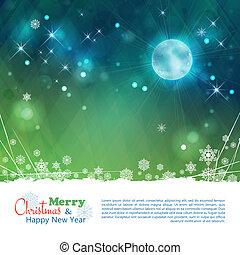 sterretjes, abstract, maan, vector, achtergrond, kerstmis