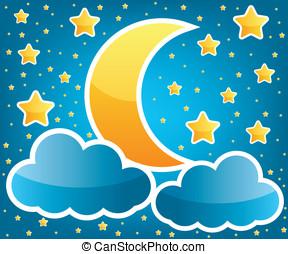 sterretjes, illustratie, maan
