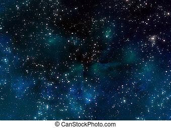 sterretjes, in, buitenste ruimte