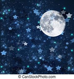 sterretjes, kerstmis, achtergrond, maan