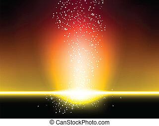 sterretjes, ontploffing, achtergrond, rood en geel