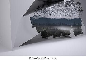 sterretjes, scherm, onder, het tonen, cityscape, abstract, kamer