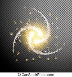 sterretjes, vrijstaand, element, gloeiend, ontwerp,...