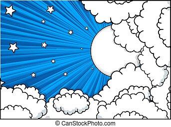 sterretjes, wolken, retro, achtergrond