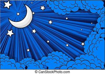 sterretjes, wolken, retro, achtergrond, maan