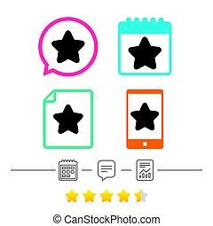 sterteken, icon., favoriet, button., navigation.