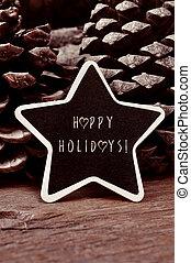 stervormig, chalkboard, met, de, tekst, vrolijke , feestdagen