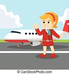 Sterwardes girl with plane