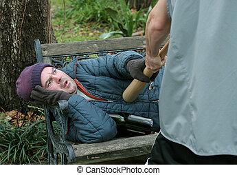 stesso difesa, -, senzatetto, uomo