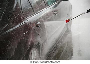 stesso, lavaggio i automobile, automobile, pulizia