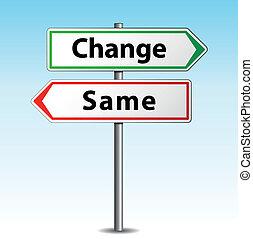 stesso, vettore, o, cambiamento, segno