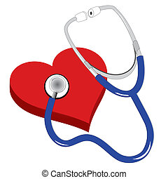 stethescope and the red heart - stethescope and the 3d red...