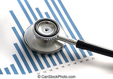 stethoscop, en, un, estadística, gráfico