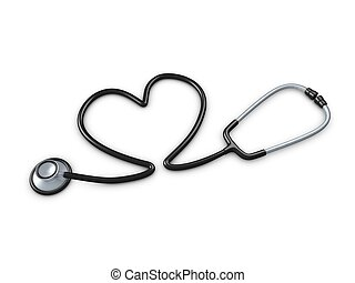 Stethoscope - 3d image, stethoscope with heart shaped tube....