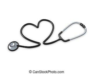Stethoscope - 3d image, stethoscope with heart shaped tube....