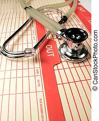 Stethoscope - a healthcare stethoscope on an outpatient file