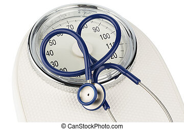 stethoscope and balance symbol photo for weight, diet and...