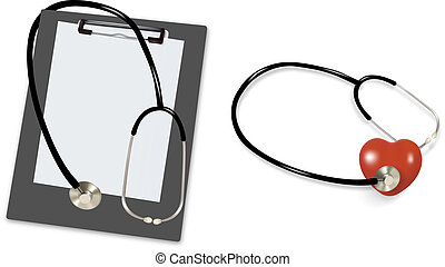 Stethoscope and blank clipboard