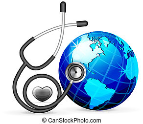 stethoscope and blue earth vector illustration isolated on...