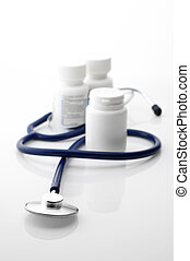 Stethoscope and bottles