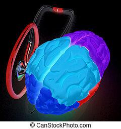 stethoscope and brain. 3d illustration