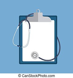 stethoscope and clipboard isolated on white background.