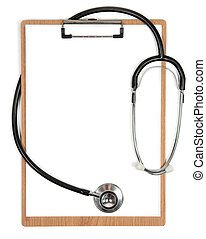 Stethoscope and clipboard with a blank white sheet of paper and copy space