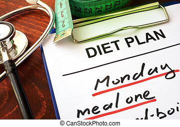Stethoscope and diet plan. Diabetes diet concept.
