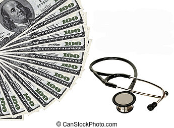Stethoscope and dollars  - Health care expenses conceptual image