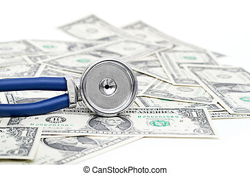 Stethoscope and dollars illustrating expensive healthcare -...