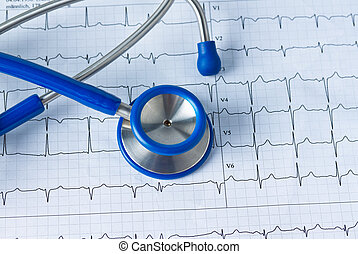 Stethoscope and ECG curve. Photo icon for cardiovascular ...