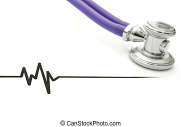 Stethoscope and ECG - ECG heartbeat graph and stethoscope.