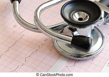 Stethoscope and ECG - Macro of stethoscope lying on ECG ...
