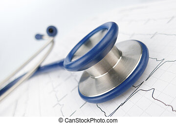 stethoscope and electrocardiogram,