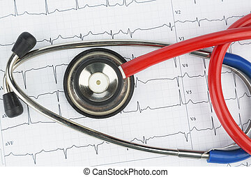 stethoscope and electrocardiogram, symbolic photo for heart...